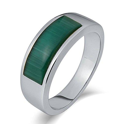 KnSam Anillo para hombre, ancho y ovalado, de acero inoxidable, sello para hombre, con circonita, plata anillo con grabado gratuito, Acero inoxidable, Circonita cúbica.,