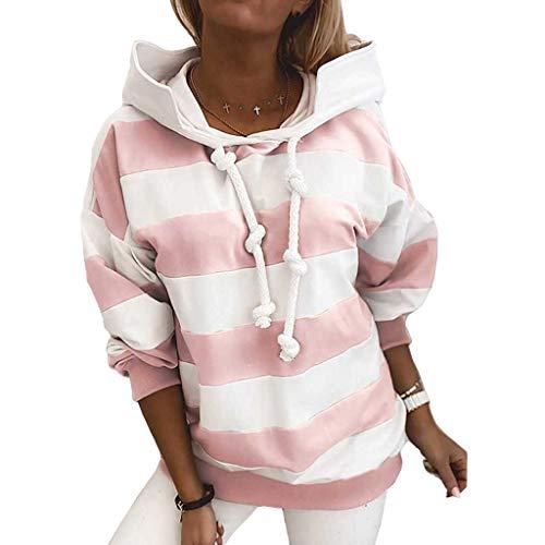 Damen Langarm Hoodie Pullover Sweatshirt Patchwork Gestreift Pullover Tops, rose, M