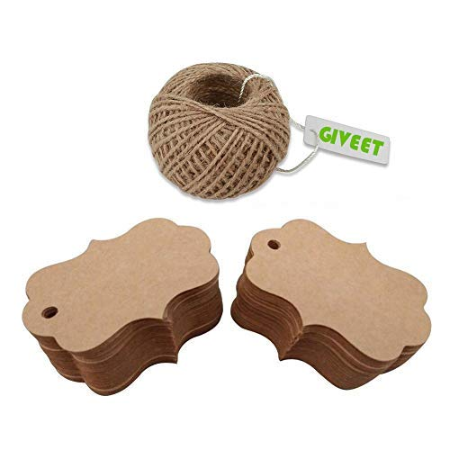 Giveet 328 Feet Natural Jute Twine Multi-Purpose Arts Crafts Twine Heavy Duty Packing String for Gifts, DIY Crafts, Festive and Gardening Applications (Jute Twine & 100 Pcs Gift Tags)