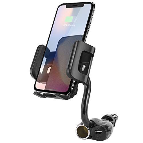 Cellet 3 In 1 DC Socket USB Car Charging Port Cigarette Lighter Phone Holder Mount Gooseneck Cradle Compatible to iPhone 11 Pro Max Xr Xs Max X SE 8 Galaxy S20 S20+ Ultra S10 S9 Note 10 9 Pixel 4 3 XL