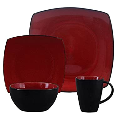 Gibson Home Soho Lounge Square Stoneware 16-piece Dinnerware Set - Red
