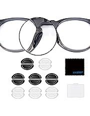TOPSTART メガネ 鼻パッド,ノーズパッド シール 鼻あて シリコン 柔らかい メガネ跡防止 メガネ ずれ落ち防止 眼鏡鼻パッド 3Mテープ 16個セット 8ペア 厚み1mm 超細繊維布 収納ケース付