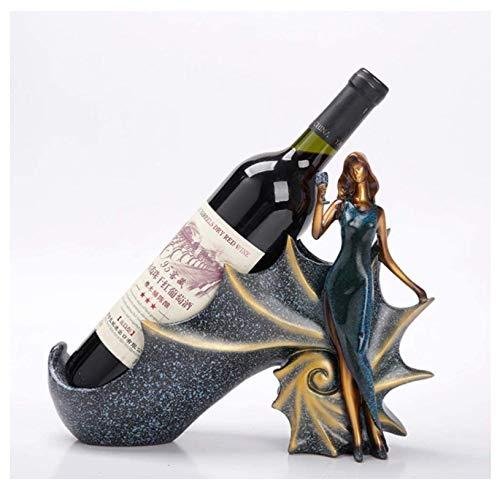 HJQL Estante Resina para Botellas Vino,Pretty Woman Wine Rack Craft Adorno,Escultura Personajes Estante Botellas Vino Ventana Gabinete Vino,Sala Estar Cocina Obra Arte Decoración Regalos(Azul)