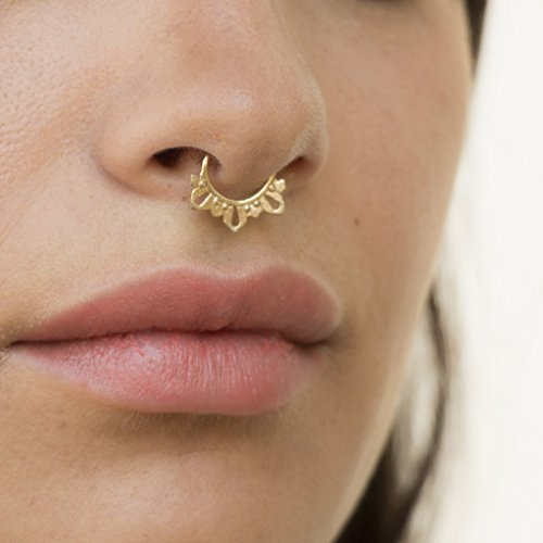 Amazon Com Septum Ring Nose Ring Indian Tribal 14k Yellow Gold