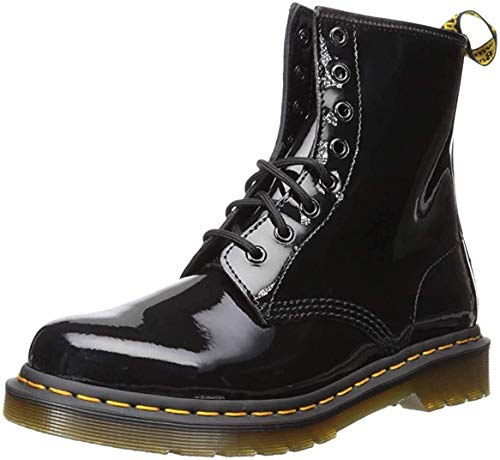 Dr. Martens Womens 1460 Patent Leather Combat Boot, Black, 9