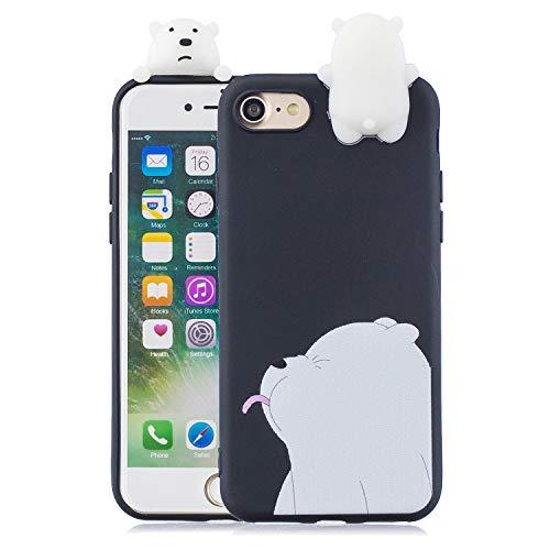 Nodigo Cover Compatibile con iPhone SE 2020/iPhone 8/iPhone 7 Silicone 3D Animale con Disegni Motivo Gomma Antiurto Matte Case Resistente Protettiva Bumper Belle Kawaii Colorate Custodia - Orso