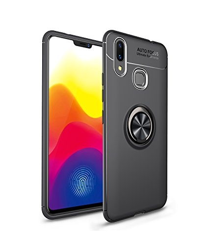 Xiaomi Mi Max 3 Case,MYLB Ultra Slim Lightweight TPU Car Holder Cover Stent TPU, 360 Degree Rotating Ring Magnetic Car Mount Rugged Case for Xiaomi Mi Max 3 (Black)