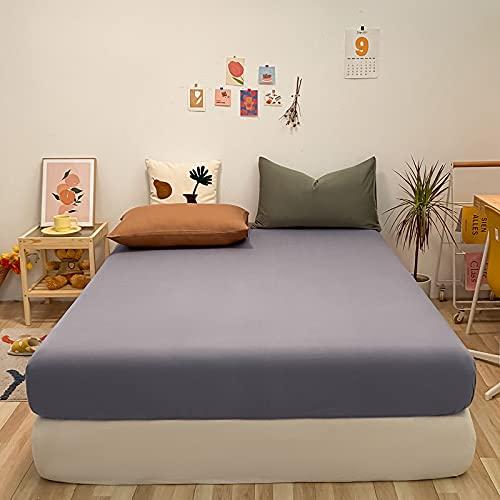 HAIBA Sábanas de cama de algodón de calidad de hotel, gris púrpura, tamaño King 150 cm x 200 cm x 30 cm