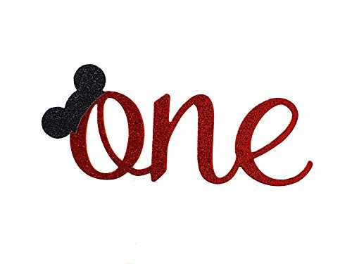 Handmade 1st Birthday Cake Topper - One with Mouse Ears - Double Sided Glitter Stock
