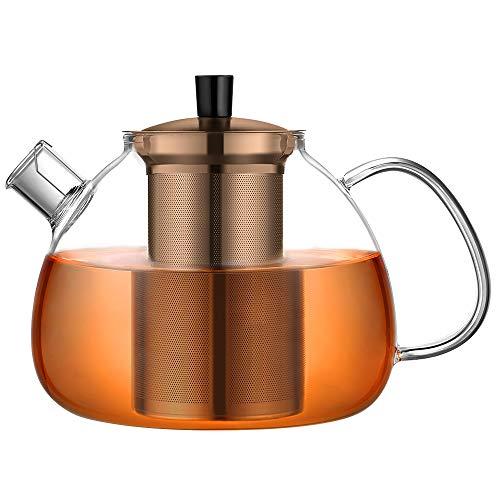 ecooe Original 1500ml Teekanne aus Glas Borosilikat Glas Teebereiter mit Abnehmbare 18/8 Edelstahl-Sieb Rostfrei Hitzebeständig für schwarzen Tee grüner Tee Fruchttee duftender Tee und Teebeutel