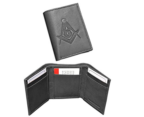 Masonic Black Tri-Fold Leather Wallet with Large Masonic Compass and Square. Multiple pockets and ID compartments wallet, for Freemasons