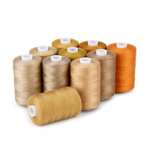 Sewing Thread 12 Colors Set 40S/2 for Sewing Machine,Quilting,Hand Sewing (10 Brown Colors)