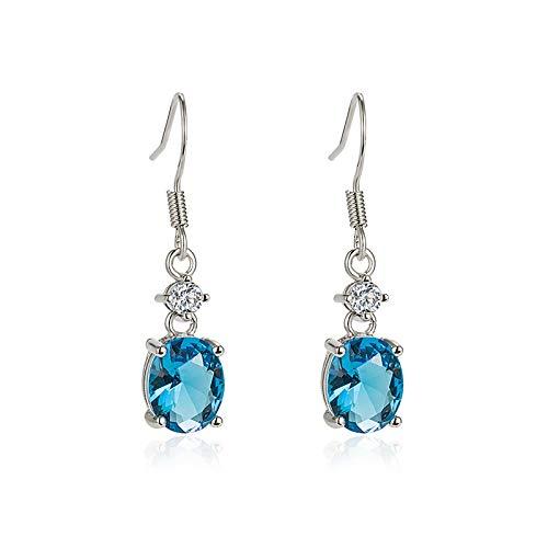 Pendientes de cristal azul Earhook Set con pendientes de diamante Zircon