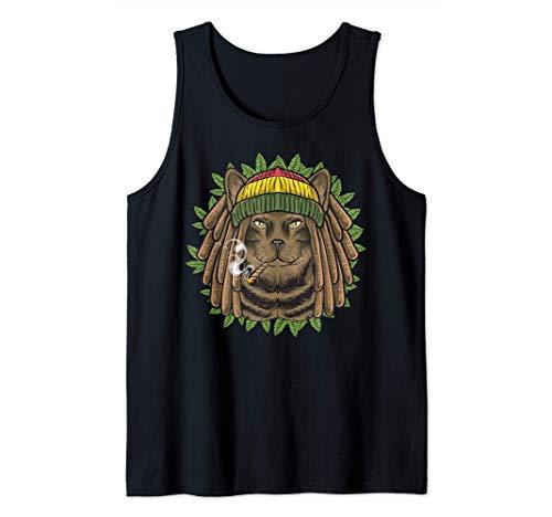 Gato rastafari Marihuana Rasta Gatito Cannabis Weed 420 Camiseta sin Mangas