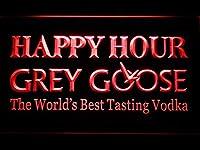 Grey Goose Vodka Happy Hour Bar LED看板 ネオンサイン ライト 電飾 広告用標識 W60cm x H40cm レッド