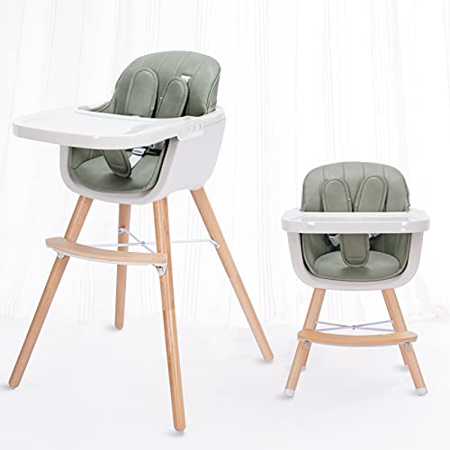 little dove 3-in-1 Convertible Wooden High Chair with Removable Tray and Adjustable Legs and Cushion - Green