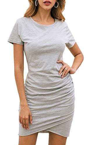 ECOWISH ECOWISH Damen Enges Kleid Sommerkleid Rundhals Kurzarm Kleid Bodycon Unregelmäßig Minikleid Grau M