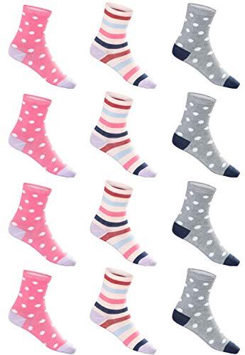 SG-WEAR 12 Paar Kindersocken für Mädchen mit hohem Baumwollanteil bunte Kinder Socken in verschiedenen Motiven / Girl Strümpfe in Größe 23-26, 27-30, 31-34, 35-38 / Ganzjahresartikel (Motiv 1, 27-30)