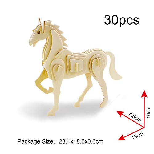 Georgie Porgy 3D Holz Puzzle Tier Bausteine für Kinder Puzzle pädagogisches Spielzeug Geschenk (JP207 Pferd)