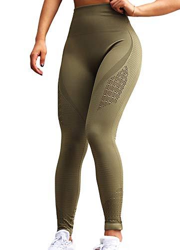 INSTINNCT Damen Yoga Lange Leggings Slim Fit Fitnesshose Sporthosen #2 Energie Stil - Dunkelgrün M