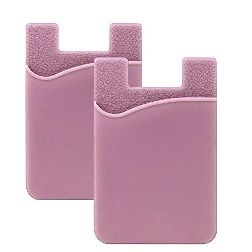 SHANSHUI 2 Piezas Bolsillo Adhesivo para Todo Tipo de Móvil, (Pegamento) Porta Tarjetas con Cinta Adhesiva de 3M,Tajetero y Soporte para Auriculares con Función de portadocumentos(Rosa Oro)