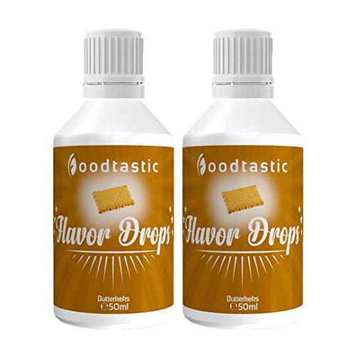 Foodtastic Flavor Drops Butterkeks Doppelpack 2 x 50ml | Flavdrops 2er Pack Aroma Tropfen | Quark, Wasser oder Porrdige kalorienfrei Süßen | vegan, glutenfrei und ohne Zucker
