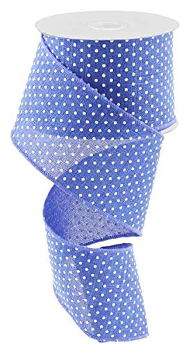 Royal Blue White Raised Swiss Polka Dots Wired Ribbon (2.5 Inches x 10 Yards)