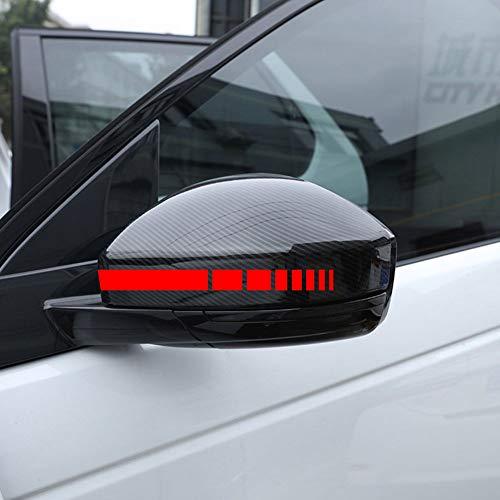 Autodomy Pegatinas Espejo Retrovisor Coche con Diseño de Franjas Rayas Cuadrados Pack de 6 Unidades con Diferentes anchuras para Coche (Rojo)