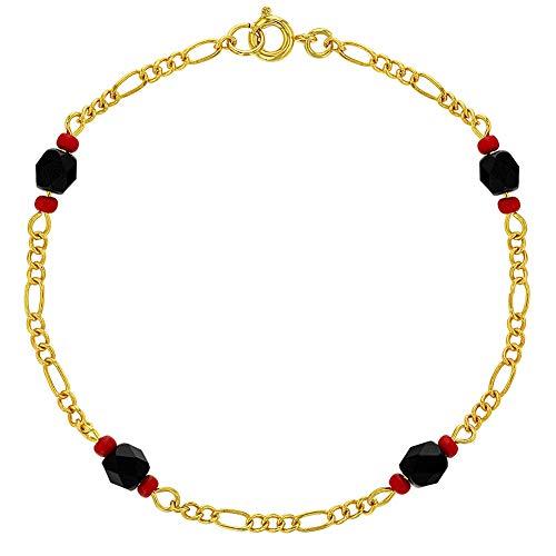 In Season Jewelry - Pulsera de protección contra el mal de ojo de azabache chapado en oro de 18 quilates con amuleto de 8 pulgadas