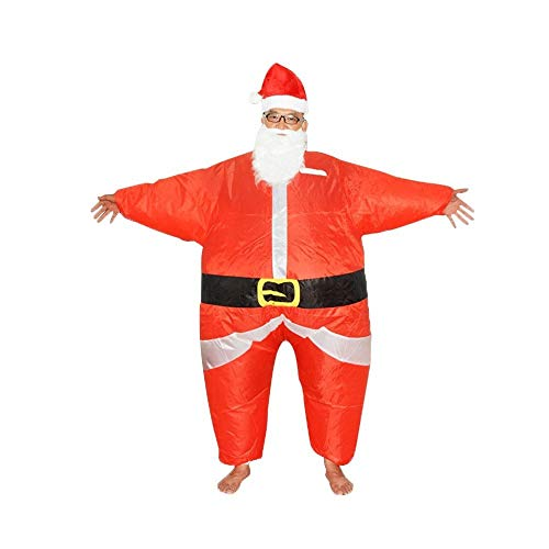 ZZYJYALG Inflatable Santa Claus Clothes Inflatable Clothing Adult Kids Christmas Parties Dresses with Hats and Air Pumps Walking Performance Props (Red)