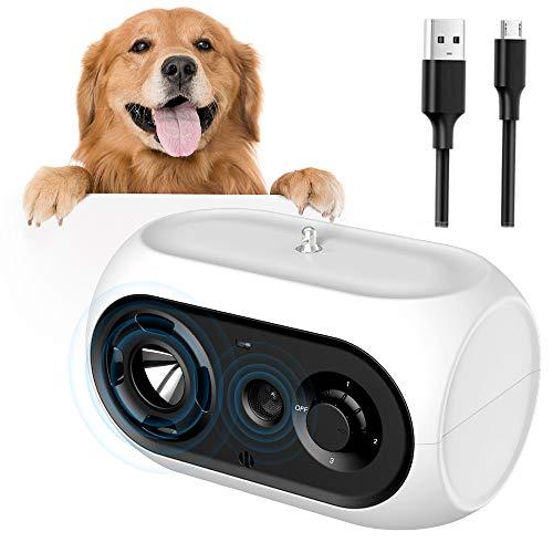 ULPEAK Antibell für Hunde, Hunde Ultraschall Anti Bellgerät Bellenstopper Antibellhalsband, Antibell Halsband Ultraschall Anti-Bellen-Gerät für kleine und große Hunde (Weiß)