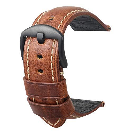 Cinturino Orologi Cuoio Hombres Repuesto Correa Hebilla Pequeña De Acero Inoxidable Compatible Relojes Tradicionales Deportivos Accesorios 24MM Marrón