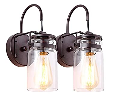 HOMIFORCE Vintage Style 2-Light Sconce Light Set of Two with Super-Thick Glass Shade Simplicity Industrial Retro Edison Fixture in Antique Brown Finish CL2017036-2(Stephan Brown)