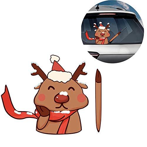 Kerst achter ruitenwisser sticker, ruitenwisser sticker stickers Kerstmis achter ruitenwisser Stickers schattige kleine beer hert Waving A