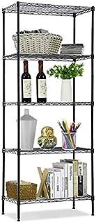 5-Tier Wire Shelving bathroom storage 5 Shelves Unit Metal kitchen Storage Rack(Black) (5-Tier)