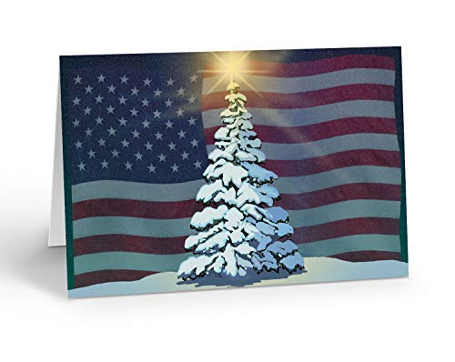 American Flag Christmas Card- 18 Patriotic Christmas Cards Envelopes - USA Holiday Cards (Standard)