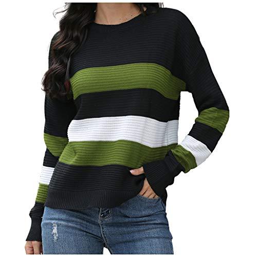 TAMALLU Women Beautiful Long Sleeve Splicing Brief Socket Sweater Long Sleeve Pullover(Army Green,S)