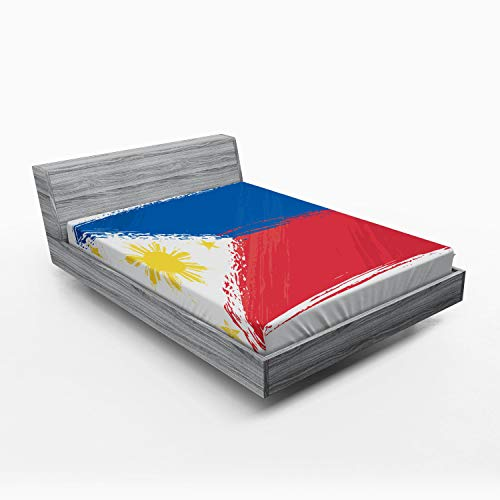 Ambesonne Filipino Fitted Sheet, Artistic Brush Stroke Style Grungy Philippines National Flag Print, Soft Decorative Fabric Bedding All-Round Elastic Pocket, Queen Size, Cobalt Blue Yellow and Red