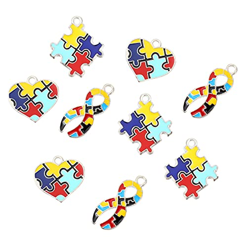 EXCEART 9Pcs Jigsaw Puzzle Jigsaw Puzzle Piece Charme Pingentes Charme DIY Pingente Pingente para Fazer Jóias Braclet Colar Chaveiro