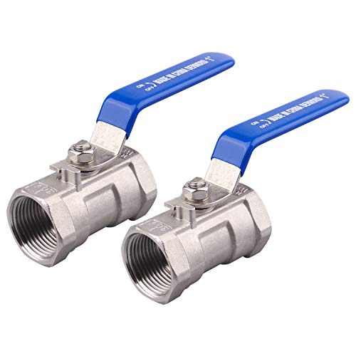 DERNORD Stainless Steel Ball Valve 1PC Type 1 Inch NPT Standard Port for Water, Oil, and Gas (Pack of 2)