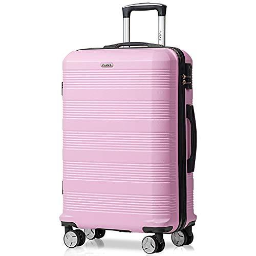 Flieks Reisekoffer Kofferset Hartschale 4 Zwillingsrollen Trolleys Gepäck Koffer Handgepäck, 67cm, 63 Liter (Pink, L)