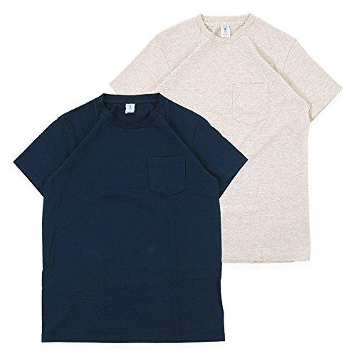 [べルバシーン] Velva Sheen Tシャツ 2パック ポケット付きクルーネック 2pac Crew Neck S/S Tee 160920 (L, ネイビー-オートミール)