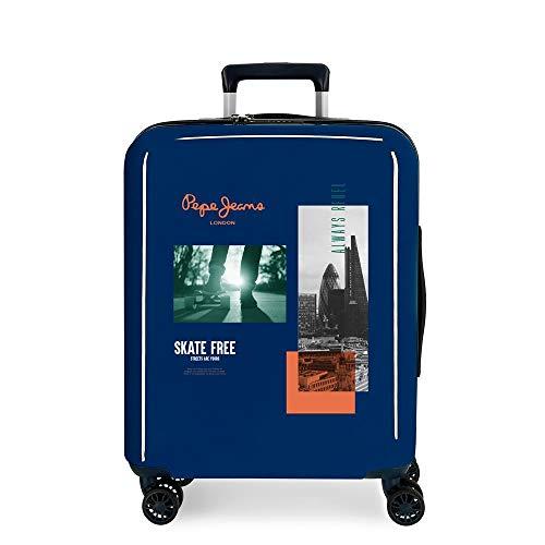 Pepe Jeans Nolan Cabin Suitcase Blue 40 x 55 x 20 cm ABS Rigid Integrated TSA Closure 38.4 L 2 kg 4 Wheels Double Hand Luggage