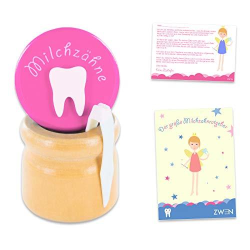 ZWEN MILCHZAHNDOSE Holz Schraubverschluss, Pinzette & Zahnfee-Brief + E-BOOK I Milchzahnbox für Mädchen & Jungen (Pink)