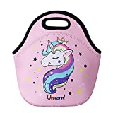 Cute Unicorn Lunch Bag for Kids, Waterproof Insulated Neoprene Lunch Tote with Zipper