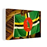 Leinwandbild - Flagge von Dominica - 150x100 cm