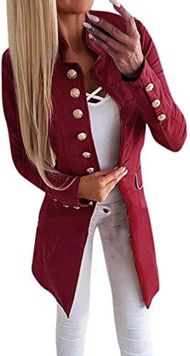 Chaqueta de solapa para mujer de manga larga con botón delgado