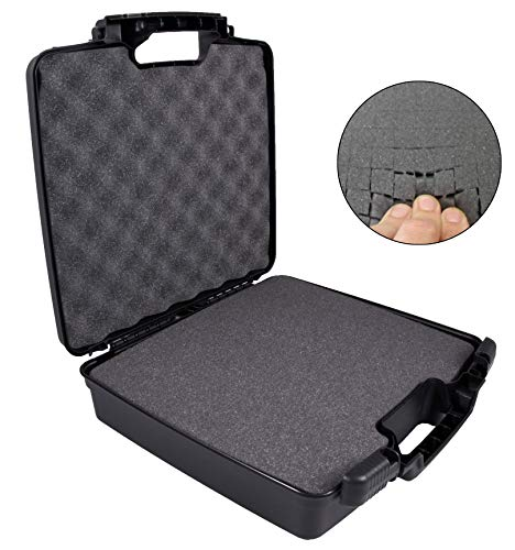 """CASEMATIX Hard Travel Case with Foam and Padlock Rings - Customizable Foam Fits Pico Mobile Projectors, Recorders, Microphones and More Small Electronics & Accessories up to 13.25"""" x 10.5"""" x 2"""""""