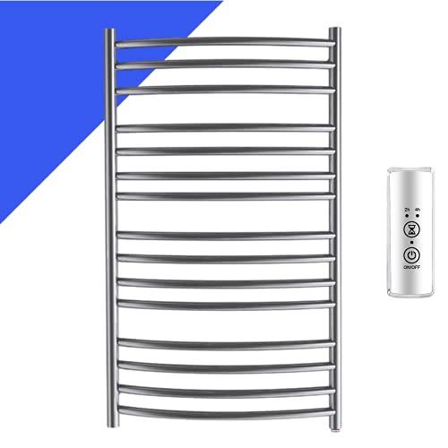 bbee.tech Towel Warmer 15 Bar Electric Heated Towel Rack Wall Mount Plug-in/Hardwired Curved Heated Towel Rail Mirror Polish