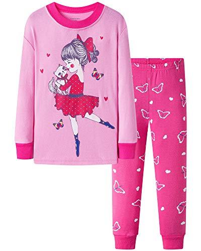 DAUGHTER QUEEN Niña Pijamas Conjunto Algodón Dos Piezas PJs 1-7 Años Manga Larga Pijamas Invierno Pijamas(5-6Y,Bailarina/Rosa/Rosa Roja)